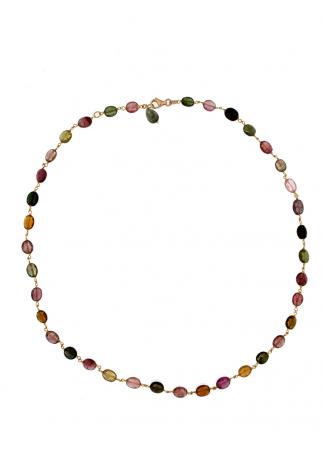Collana in oro rosa 18kt con tormalina multicolor ovale brio e drop