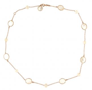 Collana in oro rosa 18kt con madreperla bianca e perle freshwater