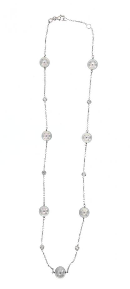 Rosario in oro bianco 18kt con perle akoya 8-8,5mm e diamanti GVS1