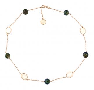 Collana in oro rosa 18kt con madreperla bianca e perle tahiti