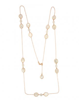 Collana in oro rosa 18kt con madreperla bianca ovale 10x8mm e perle freshwater