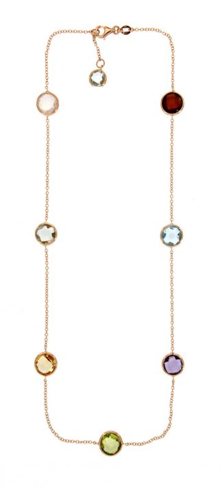 Collana in oro rosa 18kt con pietre semipreziose tonde brio 8mm