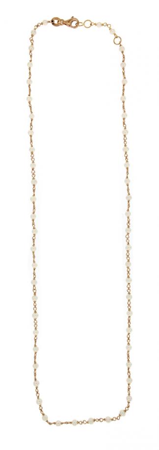 Rosario in oro rosa 18kt con perle freshwater 2,5-3mm