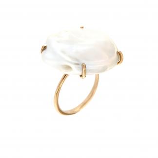 Anello in oro rosa 18kt con perla fresh water barocca