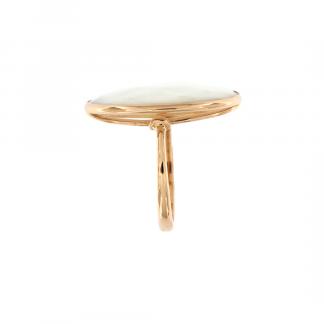 Anello in oro rosa 18kt con agata bianca