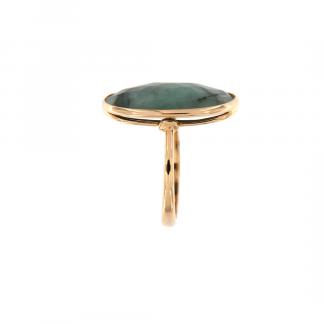 Anello in oro rosa 18kt con smeraldo ovale cab sfacettato