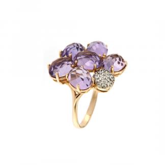 Anello in oro rosa 18kt con petali in ametista e diamanti GVS1