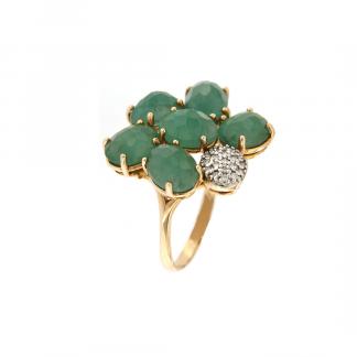 Anello in oro rosa 18kt con petali in smeraldo e diamanti GVS1