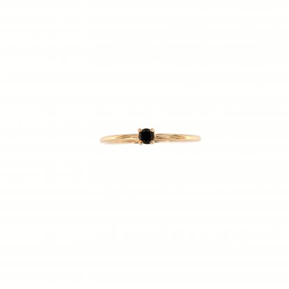 Anello in oro rosa 18kt con diamante nero centrale