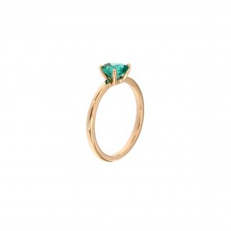 Anello in oro bianco 18kt con smeraldo cuore 6mm