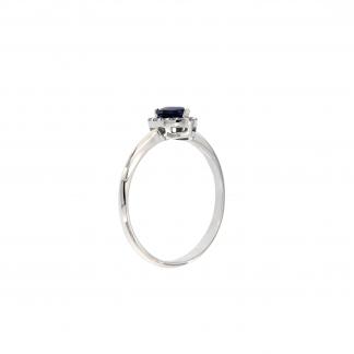 Anello in oro bianco 18kt con zaffiro blu cuore 5mm e diamanti G VS1