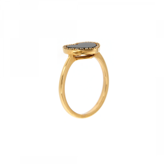 Anello in oro rosa 18kt con piastrina taglio cuore in madreperla nera e contorno in diamanti GVS1