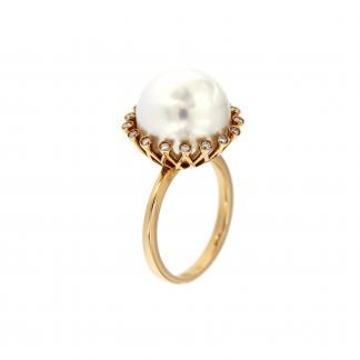 Anello in oro rosa 18kt con perla south sea white e diamanti GVS1