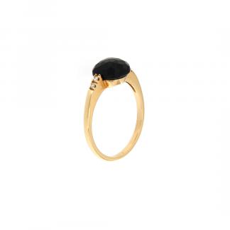 Anello in oro rosa 18kt con onice antico cabochon sfc 8mm e diamanti GVS1