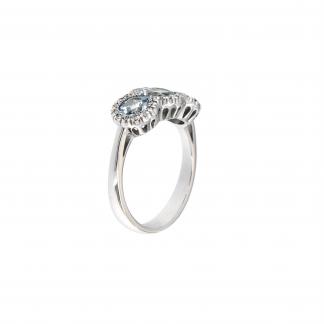 Anello in oro bianco 18kt con acquamarina tondo 5-6mm e diamanti GVS1