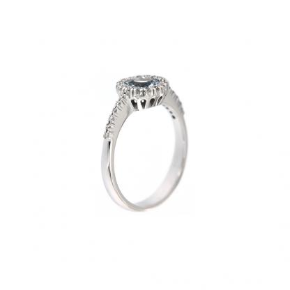 Anello in oro bianco 18kt con acquamarina taglio brillante 6mm e diamanti GVS1