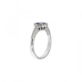 Anello in oro bianco 18kt con tanzanite taglio brillante 6mm e diamanti GVS1