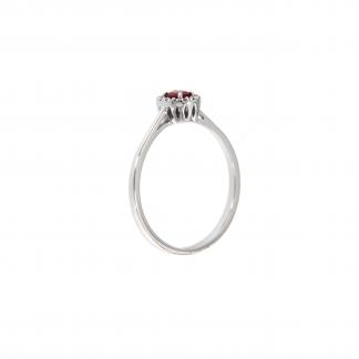 Anello in oro bianco 18kt rubino ovale 4x3mm e diamanti G VS1