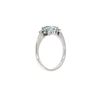 Anello in oro bianco 18kt con acquamarina carrè 6mm e diamanti GVS1