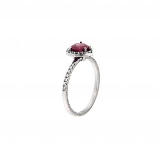 Anello in oro bianco 18kt con rubini taglio cuore 6mm e diamanti G VS1