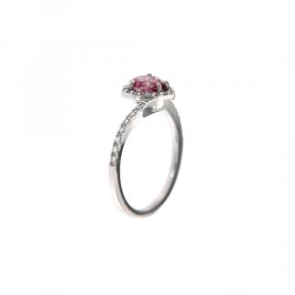 Anello in oro bianco 18kt con topazio rosa taglio cuore 6mm e diamanti G VS1