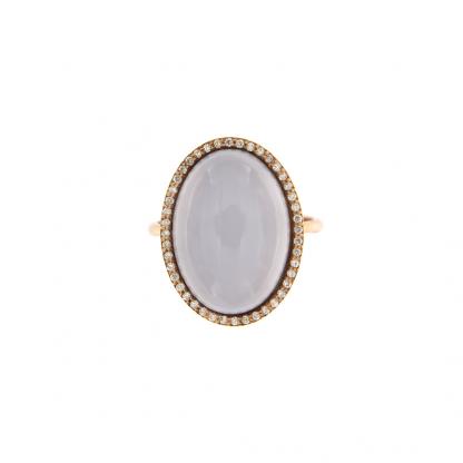 Anello in oro rosa 18kt con calcedonio cabochon e diamanti GVS1