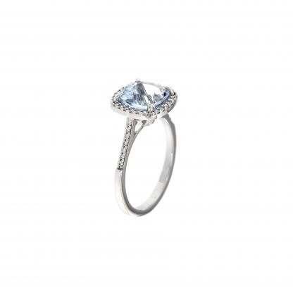 Anello in oro bianco 18kt con acquamarina antico 8mm e diamanti GVS1
