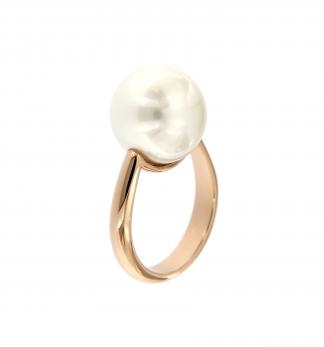 Anello in oro rosa 18kt con perla south sea white