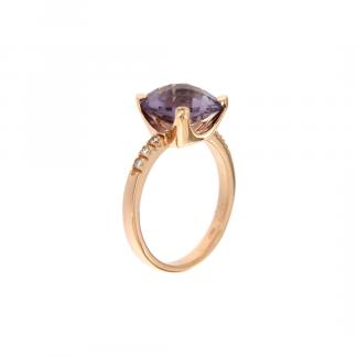 Anello in oro rosa 18kt con ametista antico brio 10x10mm e diamanti GVS1