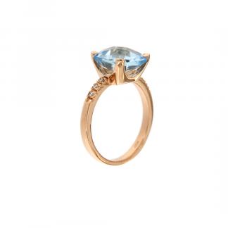 Anello in oro rosa 18kt con topazio azzurro antico brio 8x8mm e diamanti GVS1