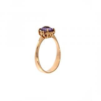 Anello in oro rosa 18kt con ametista antico brio 6x6mm e diamanti GVS1