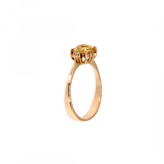Anello in oro rosa 18kt con citrino antico brio 6x6mm e diamanti GVS1