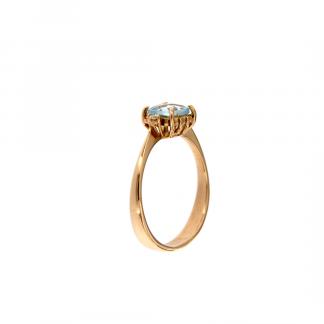 Anello in oro rosa 18kt con topazio azzurro antico brio 6x6mm e diamanti GVS1
