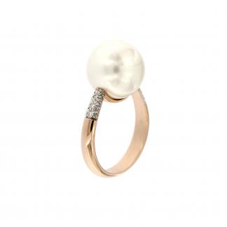 Anello in oro rosa 18kt con perla south sea white e diamanti G VS1