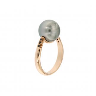 Anello in oro rosa 18kt con perla tahiti e diamanti neri