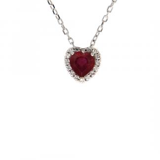 Pendente in oro bianco 18kt con rubino cuore 5mm e diamanti GVS1