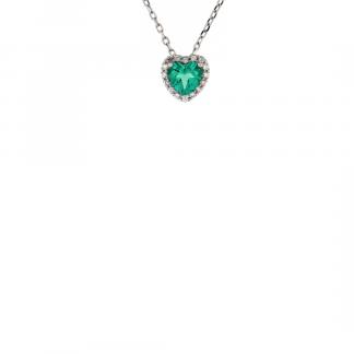 Pendente in oro bianco 18kt con smeraldo taglio cuore 5mm e diamanti GVS1