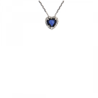 Pendente in oro bianco 18kt con zaffiro blu taglio cuore 5mm e diamanti GVS1