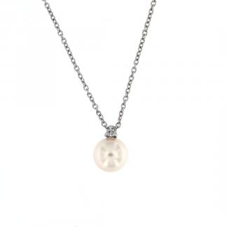 Pendente in oro bianco 18kt con perla akoya 7,5-8mm e diamanti GVS1