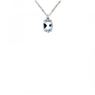 Pendente in oro bianco 18kt con acquamarina ovale 7x5mm e diamanti GVS1