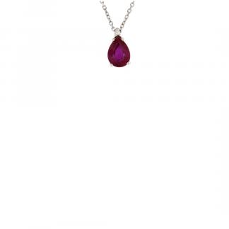 Pendente in oro bianco 18kt con rubino taglio goccia 7x5mm e diamanti GVS1