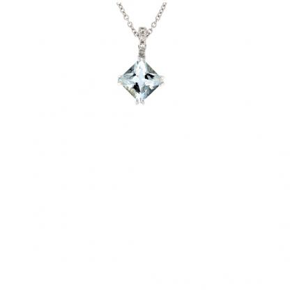 Pendente in oro bianco 18kt con acquamarina carrè 6mm e diamanti GVS1