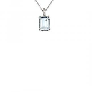 Pendente in oro bianco 18kt con acquamarina ottagonale 8x6mm e diamanti GVS1