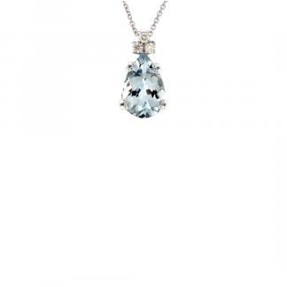 Pendente in oro bianco 18kt con acquamarina taglio goccia 12x8mm e diamanti GVS1