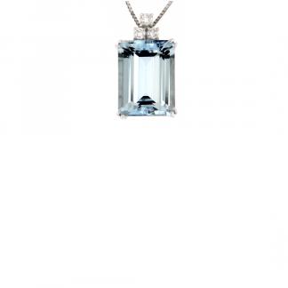 Pendente in oro bianco 18kt con acquamarina ottagonale 16x12mm e diamanti GVS1