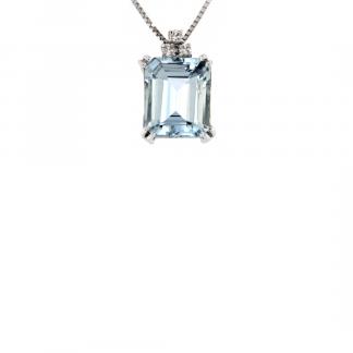 Pendente in oro bianco 18kt con acquamarina ottagonale 12x10mm e diamanti GVS1