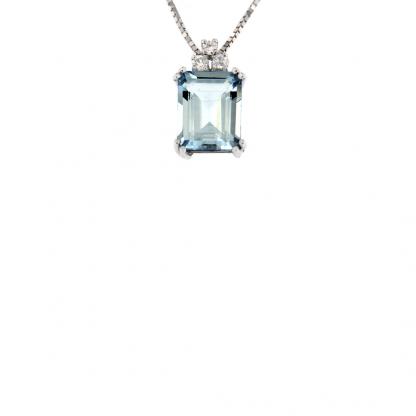 Pendente in oro bianco 18kt con acquamarina ottagonale 10x8mm e diamanti GVS1