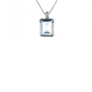 Pendente in oro bianco 18kt con acquamarina ottagonale 2,90ct 10x8mm e diamanti GVS1