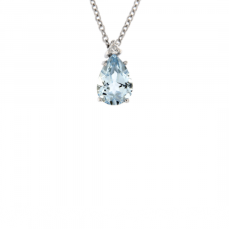Pendente in oro bianco 18kt con acquamarina taglio goccia 7x5mm e diamanti GVS1