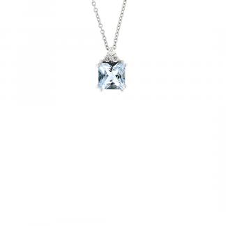 Pendente in oro bianco 18kt con acquamarina carrè 1,00 ct e diamanti GVS1